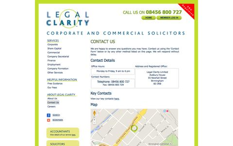 Screenshot of Contact Page legalclarity.co.uk - Contact Us - Legal Clarity - captured Oct. 2, 2014