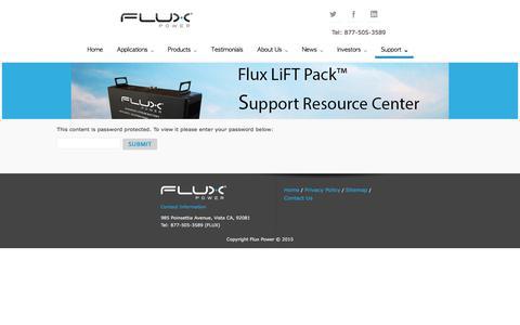 Screenshot of Support Page fluxpwr.com - Support Main   Flux Power - captured Nov. 25, 2016