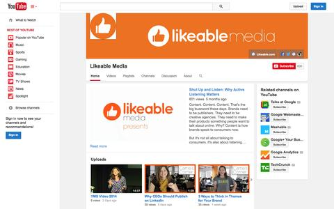 Screenshot of YouTube Page youtube.com - Likeable Media  - YouTube - captured Oct. 22, 2014