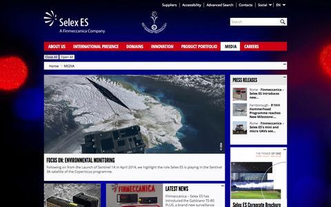 Screenshot of Press Page selex-es.com - Media - Selex ES - captured Sept. 19, 2014