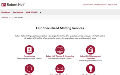 Screenshot of roberthalf.com - Our Specialized Staffing Services | Work with Robert Half - captured Aug. 24, 2017