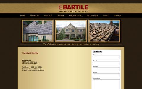 Screenshot of Contact Page bartile.com - Contact - captured Oct. 5, 2014