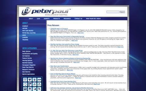 Screenshot of Press Page peterpaul.com - Press Releases   Peter Paul - captured Nov. 5, 2016