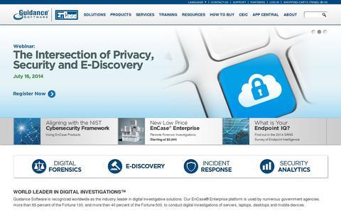 Screenshot of Home Page guidancesoftware.com - EnCase: Cybersecurity, E-Discovery, Digital Forensics - captured July 10, 2014