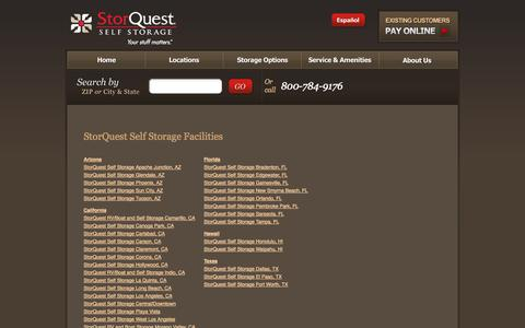 Screenshot of Locations Page storquest.com - Self Storage Locations - StorQuest Self Storage - captured Oct. 7, 2014