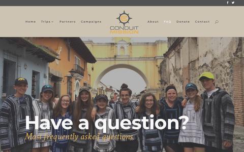 Screenshot of FAQ Page conduitmission.org - FAQ - Conduit Mission - captured July 21, 2018