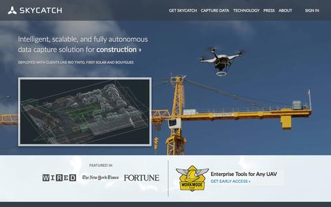 Screenshot of Home Page skycatch.com - Skycatch | Intelligent, scalable, and fully autonomous data capture solution - captured Dec. 13, 2014