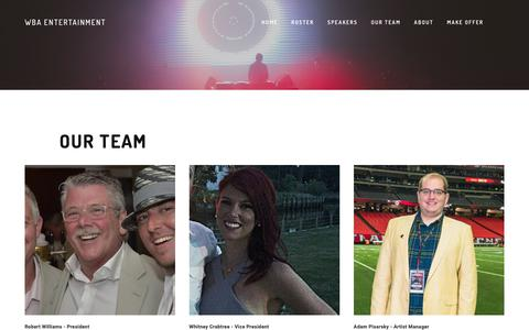 Screenshot of Team Page wbaentertainment.com - Our Team — WBA ENTERTAINMENT - captured Nov. 15, 2018