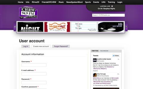 Screenshot of Signup Page chrwradio.ca - User account | CHRWRadio - captured Oct. 7, 2014