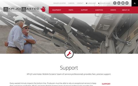 Screenshot of Support Page kpijci.com - Support   KPI-JCI and Astec Mobile Screens - captured Feb. 12, 2016
