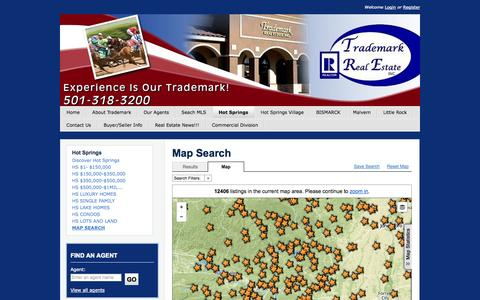 Screenshot of Maps & Directions Page trademarkrealestate.com - Hot Springs Arkansas Real Estate- Trademark Real Estate - Map Search - captured Sept. 30, 2014