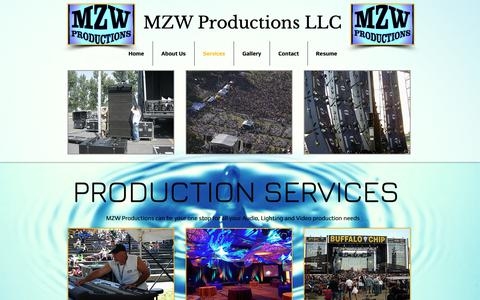 Screenshot of Services Page mzwproductions.com - MZW Productions LLC | Services - captured Oct. 1, 2018
