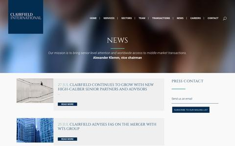 Screenshot of Press Page clairfield.com - Clairfield International     News - captured Aug. 4, 2017