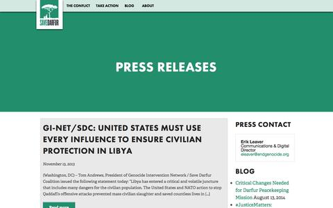 Screenshot of Press Page savedarfur.org - Save Darfur - Press Releases - captured Oct. 4, 2014
