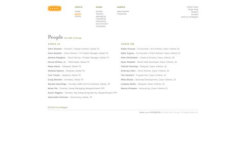 Screenshot of Team Page rangeus.com - people :: Range, Inc. :: rangeUS.com :: design. human. experience. - captured Oct. 7, 2014
