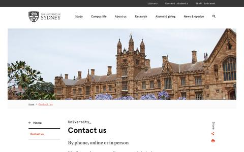 Screenshot of Contact Page sydney.edu.au - Contact us - The University of Sydney - captured Nov. 3, 2019