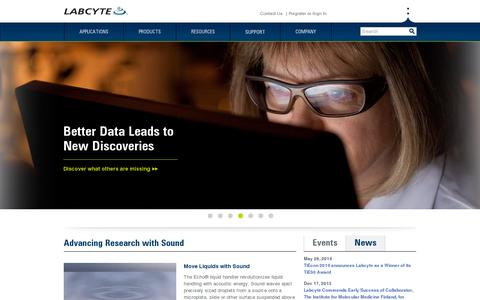 Screenshot of Press Page labcyte.com - Labcyte Inc. | The Future of Science is Sound - captured July 18, 2014