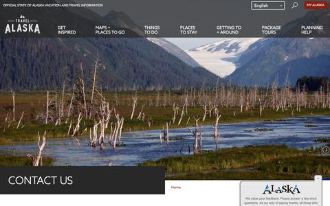 Screenshot of Contact Page travelalaska.com - Travel Alaska - Contact Us - captured Sept. 24, 2018