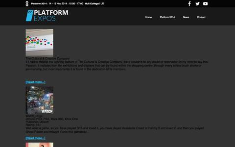Screenshot of Press Page platformexpos.com - News | Platform Expos - captured Oct. 28, 2014