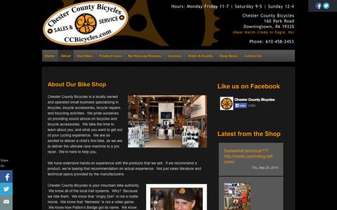 Screenshot of About Page ccbicycles.com - About Our Bike Shop - Chester County Bicycles - captured Oct. 2, 2014