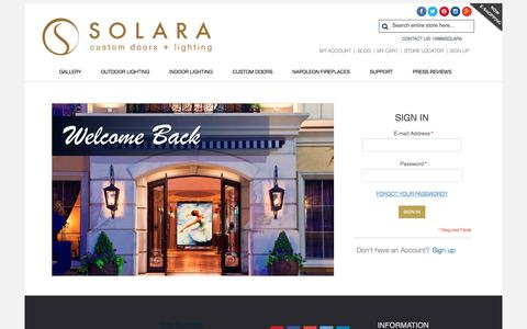 Screenshot of Login Page solaralighting.com - Solara Custom Doors & Lighting - captured Oct. 22, 2017