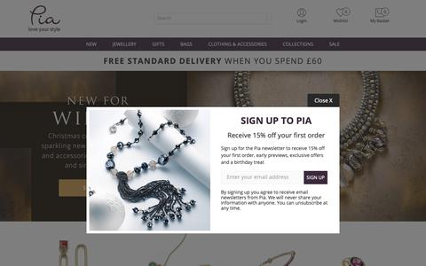 Screenshot of Home Page piajewellery.com - Women's jewellery - necklaces, earrings, bracelets & rings | Pia Jewellery - captured Oct. 30, 2018