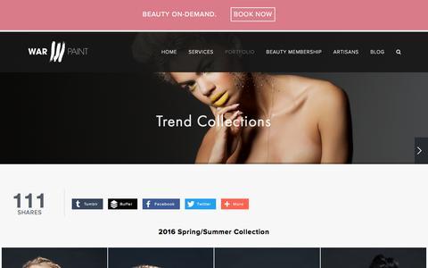 Screenshot of warpaintinternational.com - Trend Collections — Warpaint International Beauty Agency - captured April 7, 2016