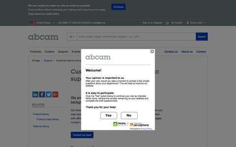 Screenshot of Support Page abcam.com - Contact customer service or our scientific support teams | Abcam - captured July 3, 2016