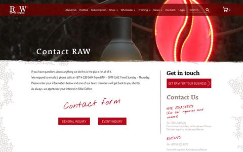 Screenshot of Contact Page rawcoffeecompany.com - Contact RAW                      – RAW Coffee Company - captured Oct. 20, 2018