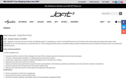 Screenshot of Jobs Page jofit.com - Careers | Jofit Official Website - captured July 27, 2018
