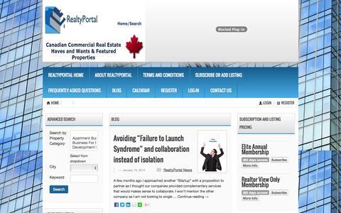 Screenshot of Blog realtyportal.ca - Canadian Commercial Real Estate Blog RealtyPortal.ca - captured Nov. 4, 2014