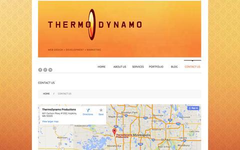 Screenshot of Contact Page thermodynamo.com - Contact ThermoDynamo Web Design Development - captured Feb. 16, 2016