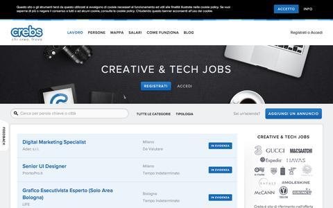 Screenshot of Jobs Page crebs.it - Lavori Creativi su Crebs - Creative and Tech jobs - Startup jobs Crebs   Creative and Tech jobs – Startup jobs - captured July 17, 2016
