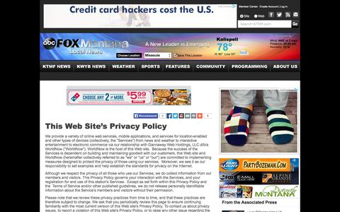 Screenshot of Privacy Page abcfoxmontana.com - This Web Site's Privacy Policy - ABC FOX MONTANA NEWS, WEATHER, SPORTS - KTMF/KWYB - captured Sept. 19, 2014
