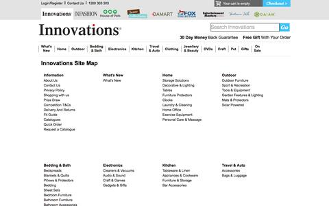 Screenshot of Site Map Page innovations.com.au - Innovations - Home & Outdoor | Kitchen | Bedding | Electronics - captured Jan. 8, 2016