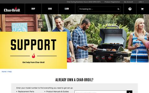 Screenshot of Support Page charbroil.com captured July 17, 2018