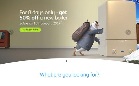 Screenshot of Home Page britishgas.co.uk - Gas and electricity, boilers and energy efficiency - British Gas - captured Jan. 13, 2017
