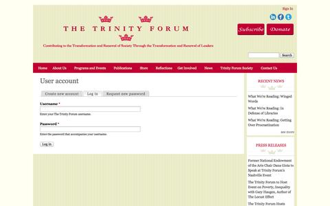Screenshot of Login Page ttf.org - User account | The Trinity Forum - captured Oct. 6, 2014