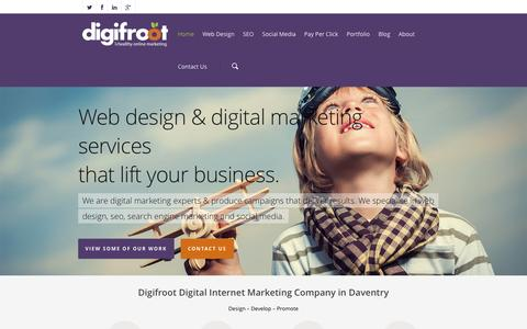 Screenshot of Home Page digifroot.co.uk - Graphic Design, Website, SEO & PPC Company in Daventry. - captured Oct. 5, 2014