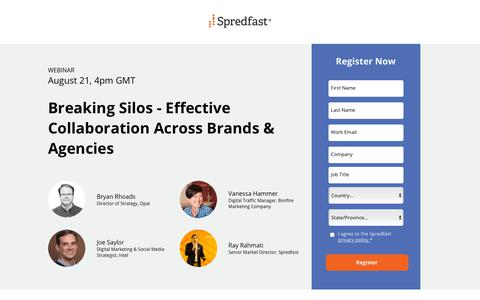 Screenshot of Landing Page spredfast.com - Breaking Silos - Effective Collaboration Across Brands & Agencies - captured Sept. 6, 2018
