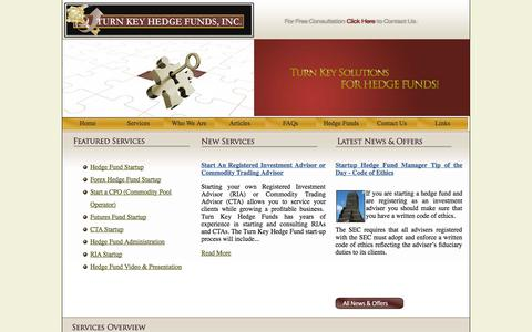Screenshot of Services Page turnkeyhedgefunds.com - Starting a Hedge Fund, How to start a Hedge Fund, Set up a Hedge Fund, Hedge Fund Start up - captured Sept. 30, 2014