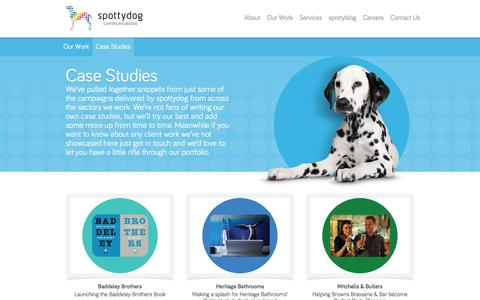 Screenshot of Case Studies Page spottydogcommunications.com - Our Work  Spottydog Communications - captured Feb. 24, 2016