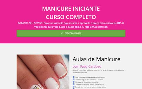 Screenshot of Home Page escolamanicure.com - Curso de Manicure Online com Certificado - Faby Cardoso - captured Oct. 19, 2018