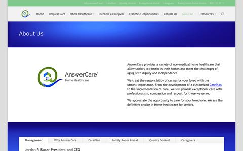Screenshot of About Page answercare.org - About Us   AnswerCare - captured Sept. 30, 2014
