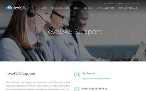 Screenshot of Support Page level365.com - Level365 Support - captured Sept. 28, 2018