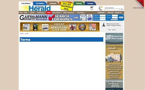 Screenshot of Terms Page columbiabasinherald.com - Columbia Basin Herald: Terms - captured Sept. 30, 2014
