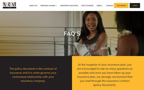 Screenshot of FAQ Page armlife.com.ng - FAQs - ARM Life - captured Sept. 29, 2018