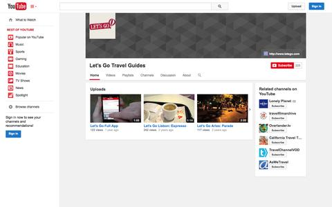 Screenshot of YouTube Page youtube.com - Let's Go Travel Guides  - YouTube - captured Oct. 22, 2014