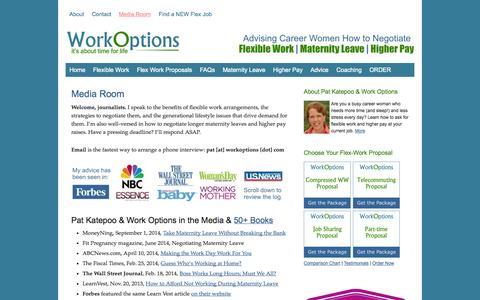 Screenshot of Press Page workoptions.com - Media Room for Flexible Work Expert, Pat Katepoo - captured Sept. 19, 2014