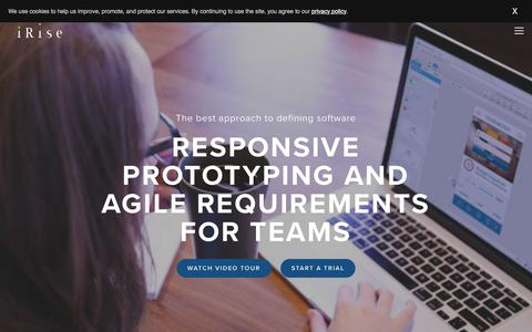 Screenshot of Home Page irise.com - Best prototyping & wireframe tool with inline requirements management - captured July 13, 2018